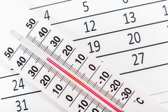Thermometer sitting on a calendar sheet Royalty Free Stock Photography