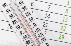 Thermometer sitting on a calendar sheet Royalty Free Stock Images