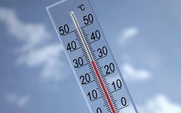Thermometer on sky background showing 30�c Stock Photos