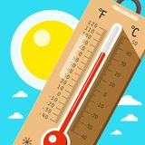 Thermometer with Sky and Sun. Hot Weather in Summer. Vector Cartoon Royalty Free Stock Photography
