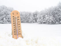 Thermometer in the snow Royalty Free Stock Photography