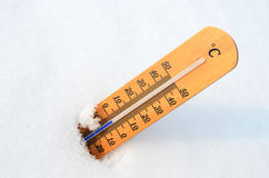 Thermometer in the snow. Thermometer in the deep snow Royalty Free Stock Photo