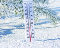 Thermometer in the snow Stock Image