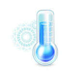 Thermometer with snowflakes; cold concept isolated Royalty Free Stock Photos