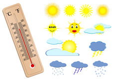 A thermometer and some weather ele Royalty Free Stock Photography