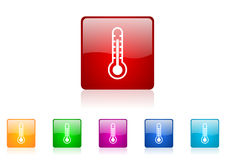 Thermometer square web glossy icon t Stock Image