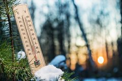 Thermometer with sub-zero temperatures. In the winter forest royalty free stock images