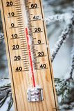 Thermometer with subzero temperature stuck in the snow in the winter royalty free stock photography