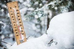 Thermometer with subzero temperature stuck in the snow royalty free stock image