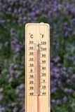 Thermometer on the summer heat Stock Images