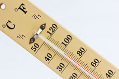 Thermometer in summer. Royalty Free Stock Images