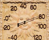 Thermometer With Sun Face. An outdoor thermometer with a happy sun face Royalty Free Stock Image