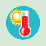 Thermometer and sun flat vector Stock Photo