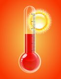 Thermometer with sun. Hot weather. Royalty Free Stock Images
