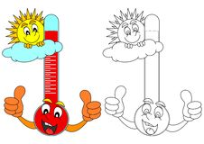 Thermometer with the sun Royalty Free Stock Images