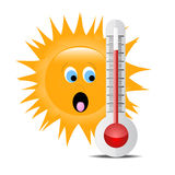 Thermometer with sun Royalty Free Stock Photography
