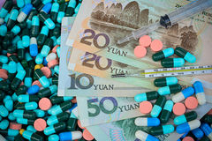 Thermometer,syringe and pills  on Yuan banknotes for health conc Stock Photography