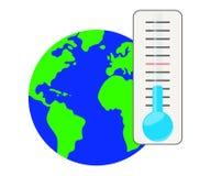 Thermometer tegen de achtergrond van de planeet stock illustratie