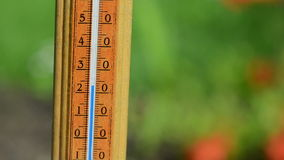 Thermometer temp rise stock footage