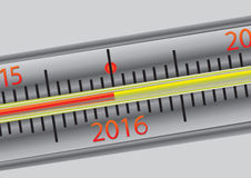 Thermometer 2016. A thermometer with a temperature of 2016 Stock Images