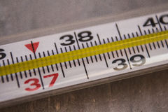 Thermometer with temperature in Celsius Stock Photos