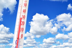Thermometer and temperature Stock Image