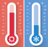 Thermometer, temperature, instrument for measuring hot and cold temperatures. Meteorology Royalty Free Stock Images