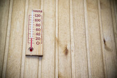 Thermometer on wall of sauna Stock Photo