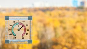 thermometer on window and blurred yellow garden stock images