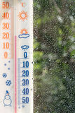 Thermometer_window_raindrops. Thermometer on the window with raindrops Stock Photos