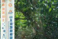 Thermometer_window_raindrops_wide Stock Images