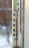 The thermometer in the winter. The thermometer on the external party of a window shows low temperature Stock Images