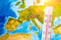 Thermometer With A High Temperature Of Forty Degrees Celsius, Against The Background Of Continent Europe. Hot Weather Concept Royalty Free Stock Images