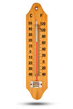 Thermometer on wooden base with celsius scale. Icon for your des Stock Photos