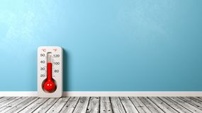 Thermometer on Wooden Floor royalty free illustration