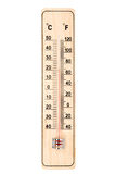 Thermometer. Wooden thermometer isolated on a white background royalty free stock photo