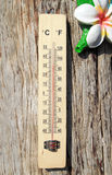 Thermometer on the wooden wall. Background Royalty Free Stock Photos