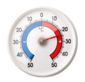 Thermometer zeigt den Komfort, der plus 24 Celsiusgrad auf wh Raumtemperatur ist Lizenzfreies Stockbild