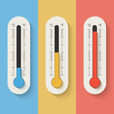 Thermometers on color background. Stock Images