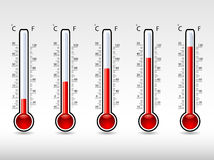 Thermometers at different levels Royalty Free Stock Photography