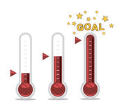 Thermometers at different levels, vector  Stock Image