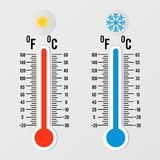 Thermometers in flat style. Hot and cold temperature. Meteorology design element. stock illustration