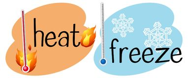 Thermometers for heat and frozen. Illustration vector illustration
