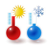 Thermometers hot cold set. Red, blue thermometers, hot sun, cold snowflake set Royalty Free Stock Images