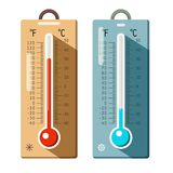Thermometers Icons Set. Summer and Winter. Hot and Cold Thermometer Royalty Free Stock Image