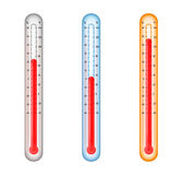 Thermometers with medium, cold, and hot temperatur. Renders of colored thermometers with temperatures at medium, hot, and cold royalty free illustration