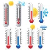Thermometers met weerpictogrammen Royalty-vrije Stock Afbeeldingen
