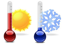 Thermometers with symbols Royalty Free Stock Photography