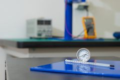 Thermometers used in electrical laboratory Royalty Free Stock Photos