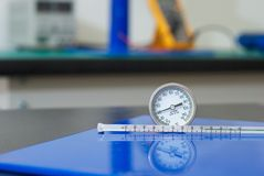 Thermometers used in electrical laboratory Royalty Free Stock Images